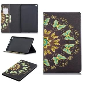 Colored Drawing Semicircular Butterfly Pattern Horizontal Flip Leather Case for Galaxy Tab A 10.1 (2019) T510 / T515, with Holder & Card Slots & Wallet