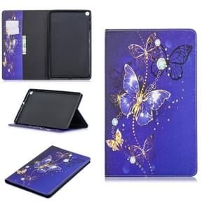 Colored Drawing Purple Butterfly Pattern Horizontal Flip Leather Case for Galaxy Tab A 10.1 (2019) T510 / T515, with Holder & Card Slots & Wallet