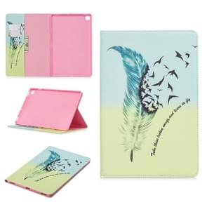 Colored Drawing Feather Bird Pattern Horizontal Flip Leather Case for Galaxy Tab S5e 10.5 T720 / T725, with Holder & Card Slots & Wallet