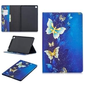 Colored Drawing Golden Butterfly Pattern Horizontal Flip Leather Case for Galaxy Tab S5e 10.5 T720 / T725, with Holder & Card Slots & Wallet