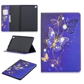 Colored Drawing Purple Butterfly Pattern Horizontal Flip Leather Case for Galaxy Tab S5e 10.5 T720 / T725, with Holder & Card Slots & Wallet