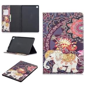 Colored Drawing Flower Elephant Pattern Horizontal Flip Leather Case for Galaxy Tab S5e 10.5 T720 / T725, with Holder & Card Slots & Wallet