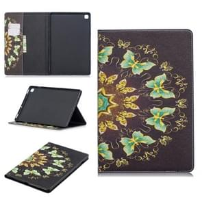 Colored Drawing Semicircular Butterfly Pattern Horizontal Flip Leather Case for Galaxy Tab S5e 10.5 T720 / T725, with Holder & Card Slots & Wallet