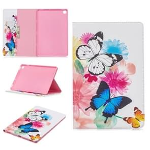 Colored Drawing Two Butterflies Pattern Horizontal Flip Leather Case for Galaxy Tab S5e 10.5 T720 / T725, with Holder & Card Slots & Wallet
