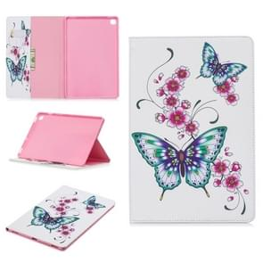 Colored Drawing Peach Blossom and Butterfly Pattern Horizontal Flip Leather Case for Galaxy Tab S5e 10.5 T720 / T725, with Holder & Card Slots & Wallet