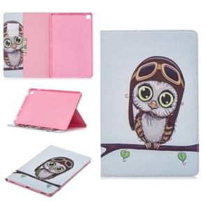 Colored Drawing Owl Pattern Horizontal Flip Leather Case for Galaxy Tab S5e 10.5 T720 / T725, with Holder & Card Slots & Wallet