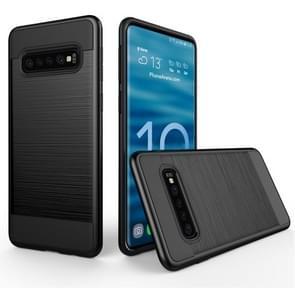 Geborsteld textuur PC + TPU beschermhoes voor Galaxy S10 5G (zwart)