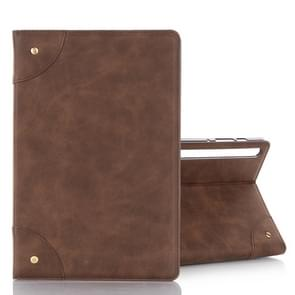 For Galaxy Tab S6 T860 / T865 Retro Book Style Horizontal Flip Leather Case with Holder & Card Slots & Wallet (Coffee)