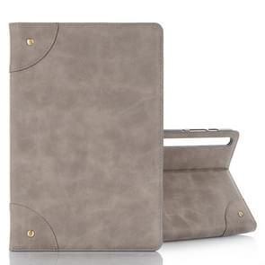 For Galaxy Tab S6 T860 / T865 Retro Book Style Horizontal Flip Leather Case with Holder & Card Slots & Wallet (Grey)