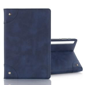 For Galaxy Tab S6 T860 / T865 Retro Book Style Horizontal Flip Leather Case with Holder & Card Slots & Wallet (Navy Blue)