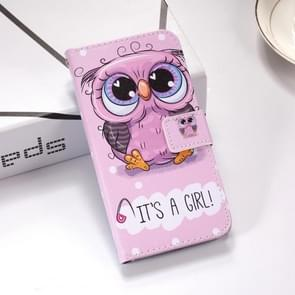 Cute Owl Pattern Colored Drawing Horizontal Flip Leather Case for Galaxy S10+, with Holder & Card Slots & Wallet & Lanyard