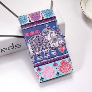 Elephant Pattern Colored Drawing Horizontal Flip Leather Case for Galaxy S10+, with Holder & Card Slots & Wallet & Lanyard