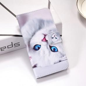 White Cat Pattern Colored Drawing Horizontal Flip Leather Case for Galaxy S10e, with Holder & Card Slots & Wallet & Lanyard