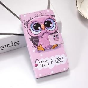 Cute Owl Pattern Colored Drawing Horizontal Flip Leather Case for Galaxy S10e, with Holder & Card Slots & Wallet & Lanyard