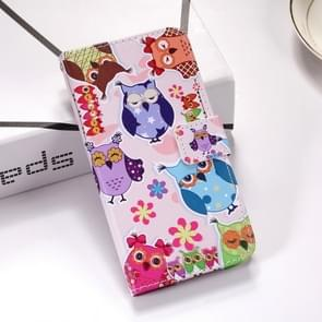 Colorful Owl Pattern Colored Drawing Horizontal Flip Leather Case for Galaxy S10e, with Holder & Card Slots & Wallet & Lanyard