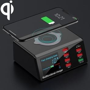 X9 9 in 1 QC 3.0 USB Interface + 6 USB-poorten + PD 65W-poorten + QI Wireless Fast Charging Multi-function Charger met LED Display