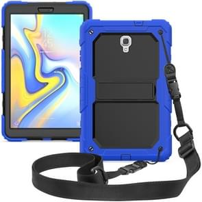 Shockproof PC + Silica Gel Protective Case for Galaxy Tab A 10.5 T590, with Holder & Shoulder Strap (Blue)