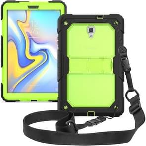 Shockproof Transparent PC + Silica Gel Protective Case for Galaxy Tab A 10.5 T590, with Holder & Shoulder Strap (Green)