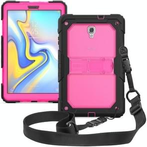 Shockproof Transparent PC + Silica Gel Protective Case for Galaxy Tab A 10.5 T590, with Holder & Shoulder Strap (Rose Red)