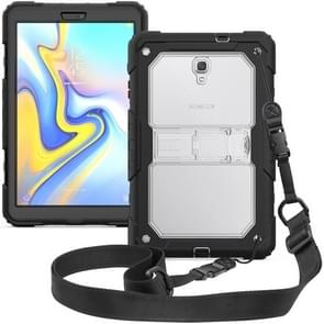 Shockproof Transparent PC + Silica Gel Protective Case for Galaxy Tab A 10.5 T590, with Holder & Shoulder Strap (Transparent)