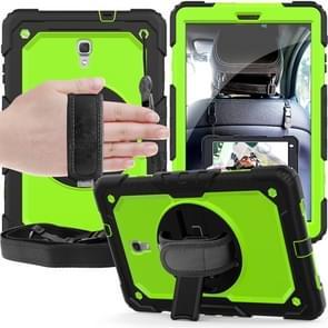 Schokbestendige zwarte silicagel + kleurrijke PC beschermende case voor Galaxy tab A 10 5 T590  met houder & schouderriem & hand riem & pen sleuf (groen)