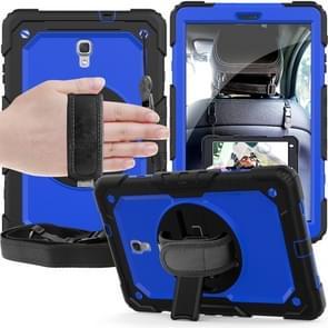 Schokbestendige zwarte silicagel + kleurrijke PC beschermende case voor Galaxy tab A 10 5 T590  met houder & schouderriem & hand riem & pen sleuf (blauw)