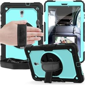 Shockproof Black Silica Gel + Colorful PC Protective Case for Galaxy Tab A 10.5 T590, with Holder & Shoulder Strap & Hand Strap & Pen Slot (Baby Blue)