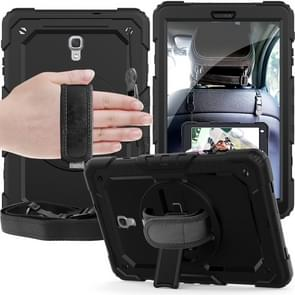 Shockproof Colorful Silica Gel + PC Protective Case for Galaxy Tab A 10.5 T590, with Holder & Shoulder Strap & Hand Strap & Pen Slot (Black)