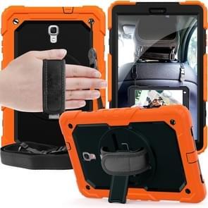 Schokbestendige kleurrijke silicagel + PC beschermende case voor Galaxy tab A 10 5 T590  met houder & schouderband & hand riem & pen sleuf (oranje)