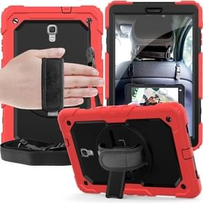 Shockproof Colorful Silica Gel + PC Protective Case for Galaxy Tab A 10.5 T590, with Holder & Shoulder Strap & Hand Strap & Pen Slot (Red)