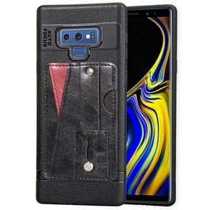 Litchi textuur volledige schokbestendige TPU Case voor Galaxy Note 9  met kaartsleuven & houder (zwart)
