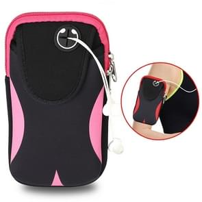 Multi-functional Sports Armband Waterproof Phone Bag for 5 Inch Screen Phone, Size: M(Black Pink)