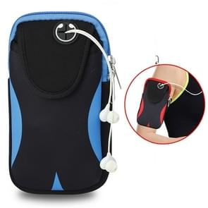 Multi-functional Sports Armband Waterproof Phone Bag for 5 Inch Screen Phone, Size: M(Black Blue)
