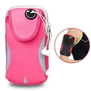 Multi-functional Sports Armband Waterproof Phone Bag for 5 Inch Screen Phone, Size: M(Pink)
