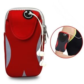 Multi-functional Sports Armband Waterproof Phone Bag for 5 Inch Screen Phone, Size: M(Red + Grey)