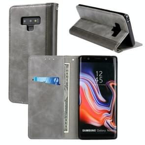 Retro Book Design Horizontal Flip PU Leather Case with Holder & Card Slots for Galaxy Note9(Grey)