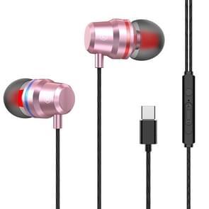 USB-C/type-C interface in ear Wired Mega Bass oortelefoon met Mic (roze)