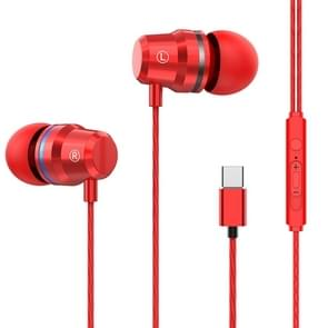 USB-C / Type-C Interface In Ear Wired Mega Bass Earphone with Mic (Red)