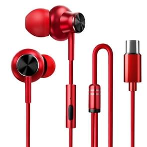 F2 1.2m Wired In Ear USB-C / Type-C Interface Metal HiFi Noise Reduction Earphones with Mic (Red)