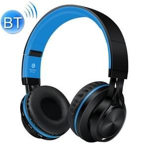 BT-06 over-ear draadloze koptelefoon verstelbaar opvouwbare Bluetooth-headset met microfoon (zwart blauw)
