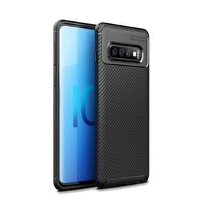 Carbon Fiber Texture Shockproof TPU Case for Galaxy S10+ (Black)