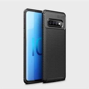 Carbon Fiber Texture Shockproof TPU Case for Galaxy S10 (Black)