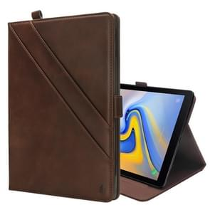 Horizontal Flip Double Holder Leather Case for Galaxy Tab A 10.5 T590 / T595, with Card Slots & Photo Frame & Pen Slot(Dark Brown)