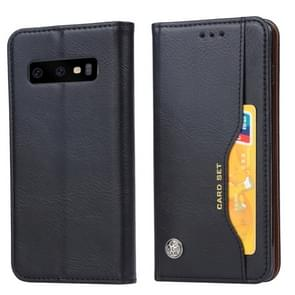 Knead Skin Texture Horizontal Flip Leather Case for Galaxy S10+, with Photo Frame & Holder & Card Slots & Wallet (Black)
