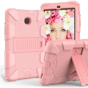 Shockproof Two-color Silicone Protection Shell for Galaxy Tab A 8.0 (2018) T387, with Holder (Rose Gold)