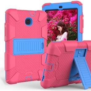 Shockproof Two-color Silicone Protection Shell for Galaxy Tab A 8.0 (2018) T387, with Holder (Rose Red+Blue)