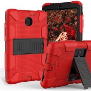Shockproof Two-color Silicone Protection Shell for Galaxy Tab A 8.0 (2018) T387, with Holder (Red+Black)