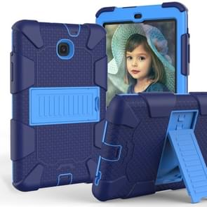 Shockproof Two-color Silicone Protection Shell for Galaxy Tab A 8.0 (2018) T387, with Holder (Black+Blue)