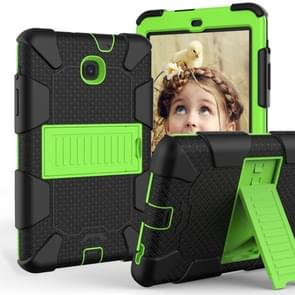 Shockproof Two-color Silicone Protection Shell for Galaxy Tab A 8.0 (2018) T387, with Holder (Black+Yellow-green)