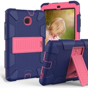 Shockproof Two-color Silicone Protection Shell for Galaxy Tab A 8.0 (2018) T387, with Holder (Navy Blue+Rose Red)
